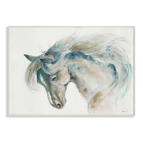 Beige & Blue Horse Watercolor Art