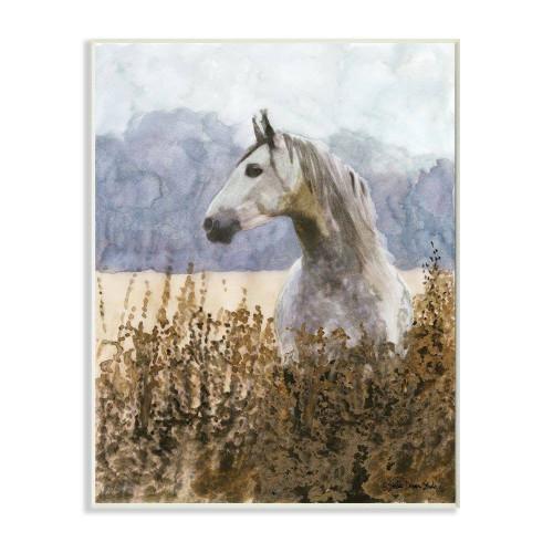 Gray & White Horse Watercolor Artwork