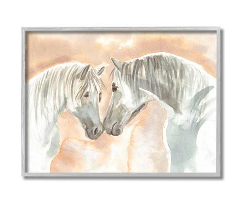 Textured White Horses Framed Art