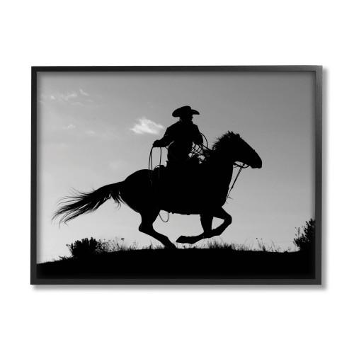 Cowboy On Horse Framed Art