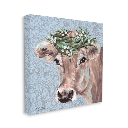 Brown Cow With Flowers Canvas Art