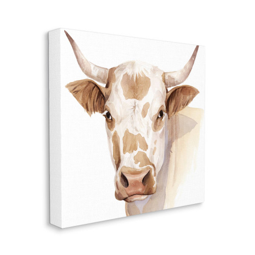Brown Spotted Bull Canvas Wall Art