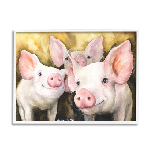 Three Smiling Pigs Watercolor Framed Art