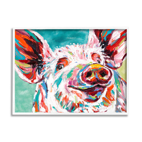 Colorful Painted Pig Framed Art