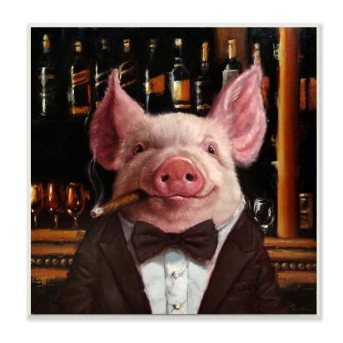 Classy Pig With Cigar Plaque Art