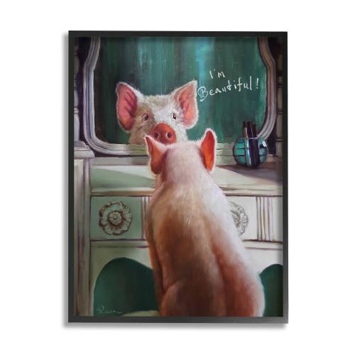 I'm Beautiful - Pig Framed Art