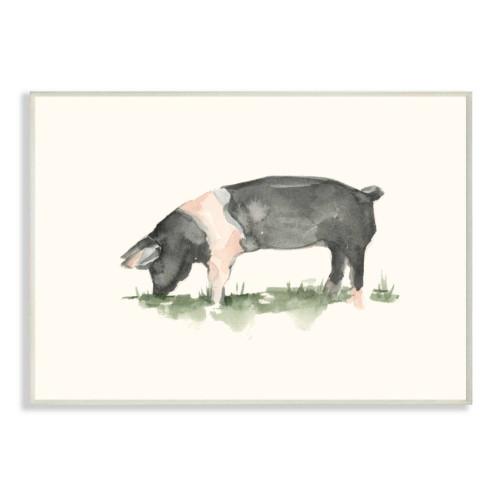 Black & White Pig Watercolor Framed Art