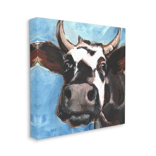 Black & White Bull Close-Up Canvas Art