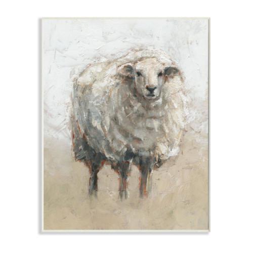 Fluffy White Sheep Plaque Art