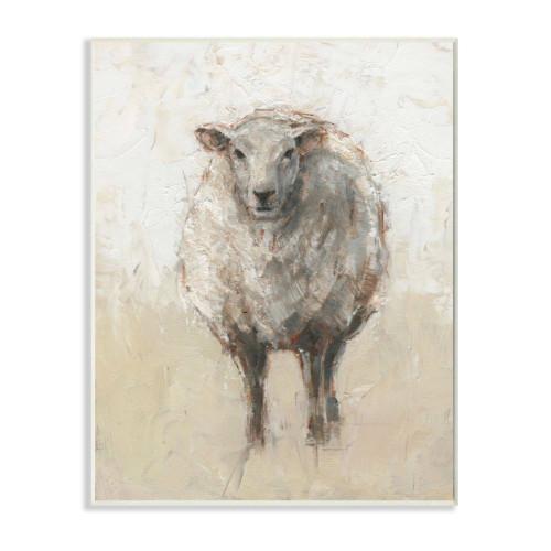 White Sheep Plaque Art