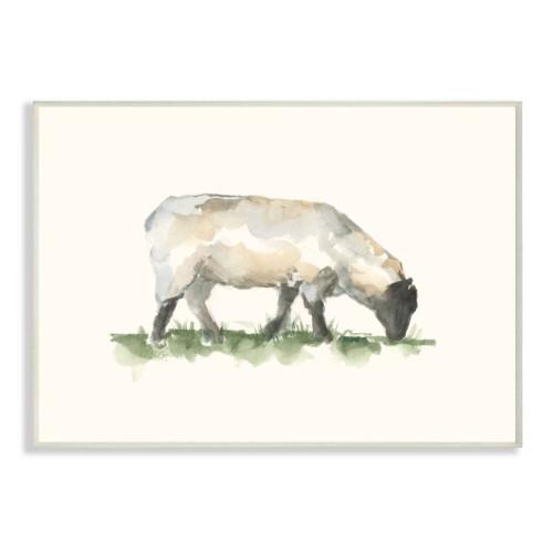 Grazing Sheep Watercolor Framed Art