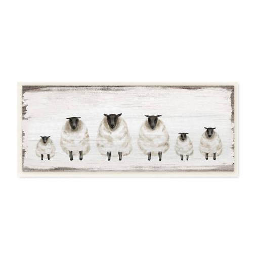 Fluffy White Sheep Family Plaque Art