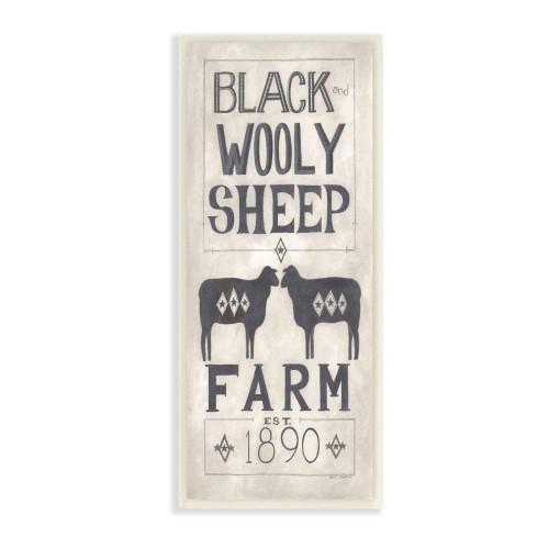 Black Wooly Sheep Vintage Plaque Sign