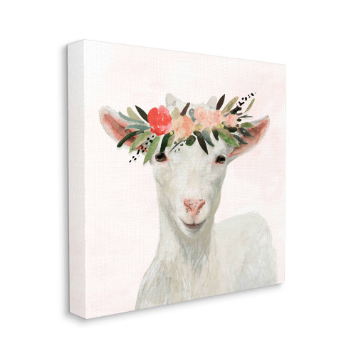 Flower Crowned White Goat Canvas Art