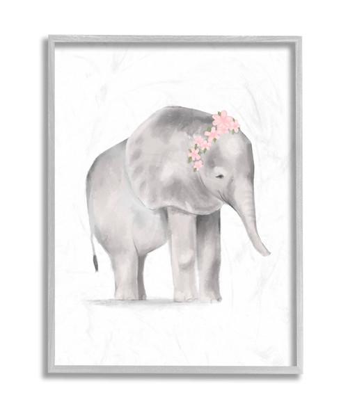 Baby Elephant w/Pink Flowers Framed Art