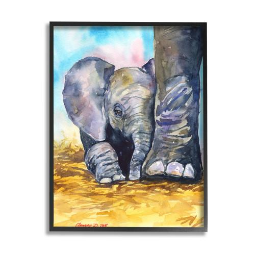 Baby Elephant At Mother's Feet Framed Art