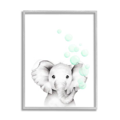 Baby Elephant Blowing Bubbles Framed Art