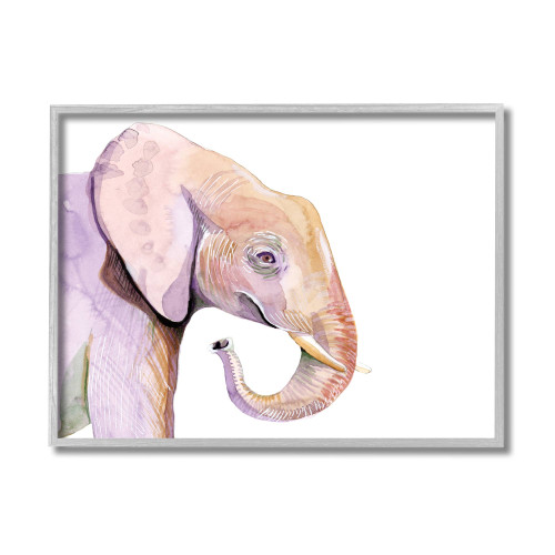 Purple Elephant Textured Framed Art
