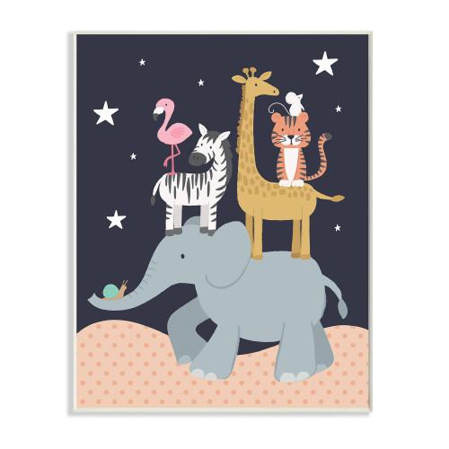 Elephant w/Animals On Back Plaque Art