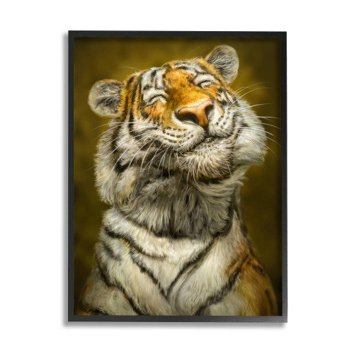 Smiling Tiger Textured Framed Art