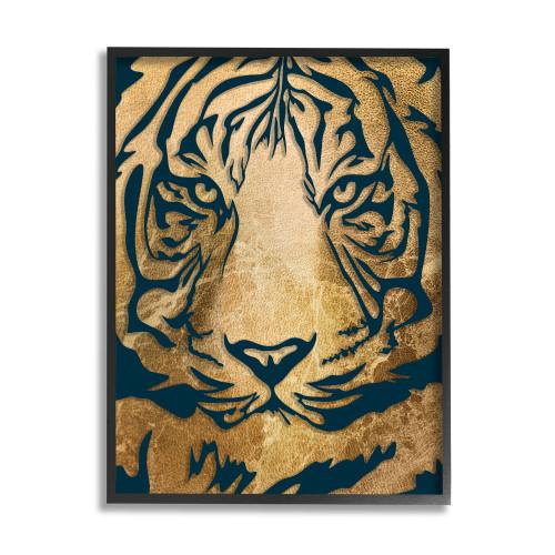 Fabric Tiger Face Framed Art