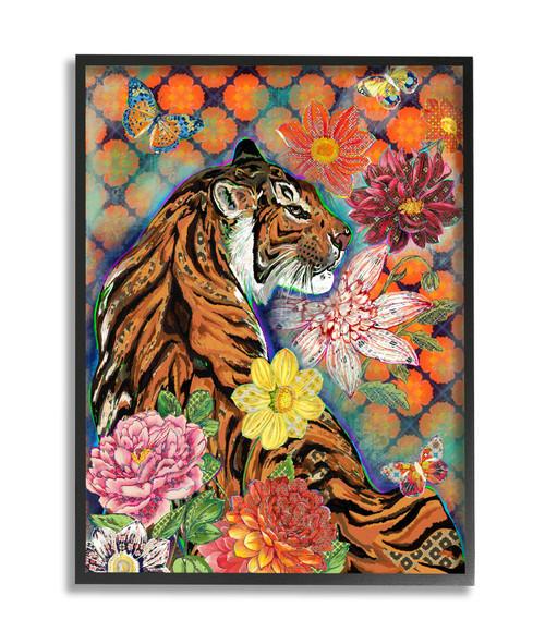 Tiger & Flowers Framed Art