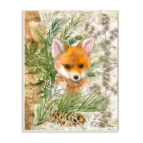 Baby Fox w/Green Leaves Plaque Art