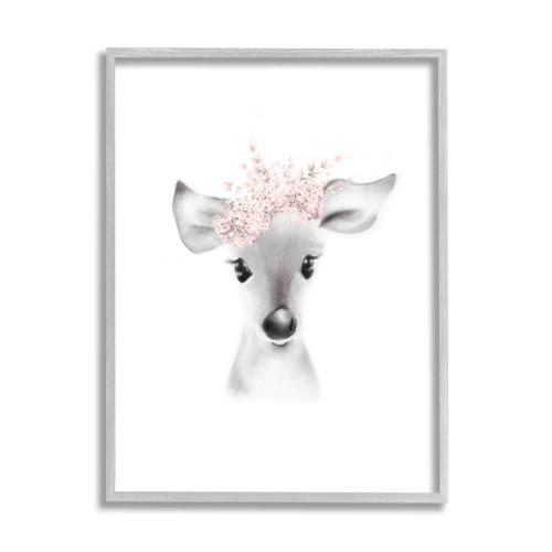 Baby Fawn Deer w/Pink Flowers Framed Art
