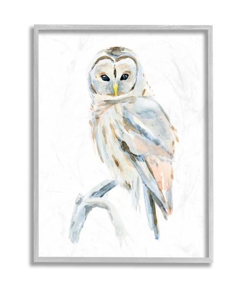 Artic Owl On Branch Framed Art