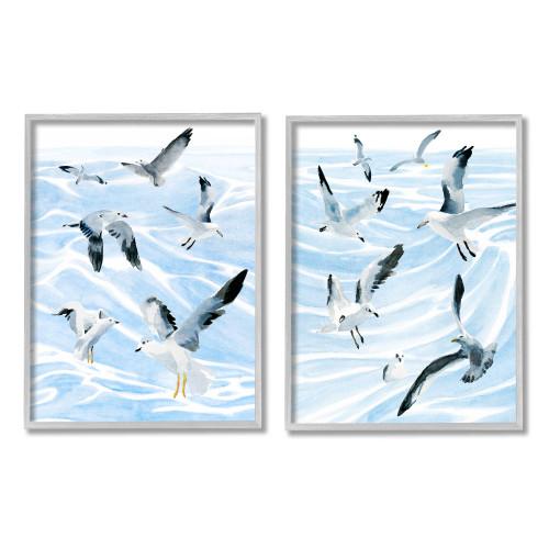 Flock of Seagulls Above Ocean Framed Art