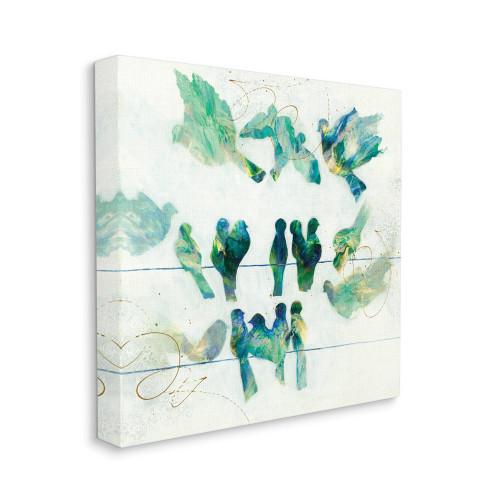Blue & Green Birds Canvas Wall Art