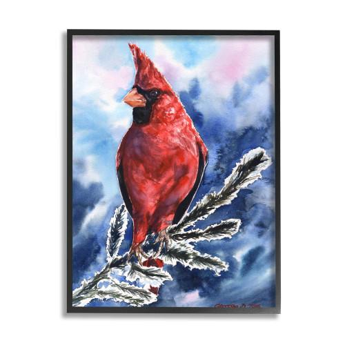 Winter Cardinal On Pine Branch Framed Art
