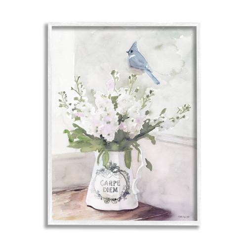 Blue Jay On Flowers Framed Art