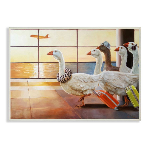 Geese Family Catching Flight Plaque Art