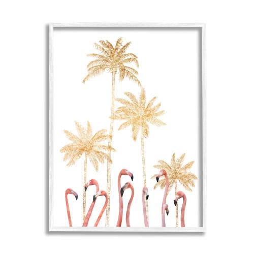 Flamingos Among Golden Palm Trees Framed Art