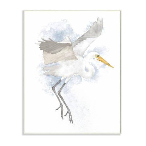 Flying White Stork Plaque Art