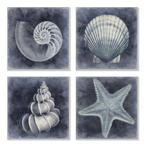 Black & White Starfish & Sea Shells Plaque Art Set