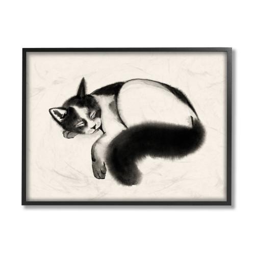 Black & White Cat Sleeping Framed Art