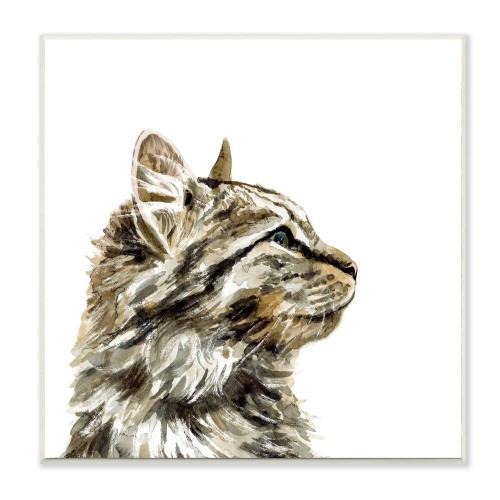 Brown Tabby Cat Watercolor Art