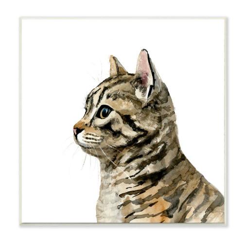Brown Tabby Kitten Watercolor Plaque Art