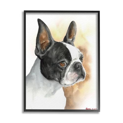 Boston Terrier Framed Art, Side