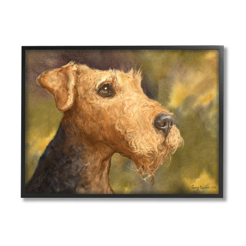 Airedale Terrier Watercolor Framed Art