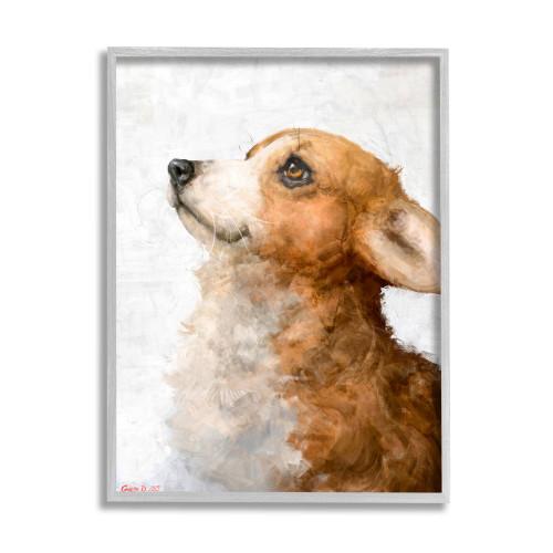 Welsh Corgi Puppy Watercolor Framed Art
