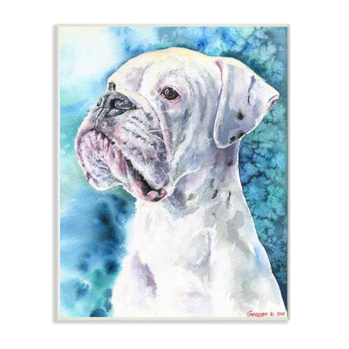 White Boxer Plaque Art