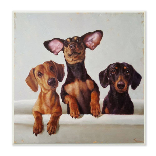 Dachshunds in Tub Plaque Art