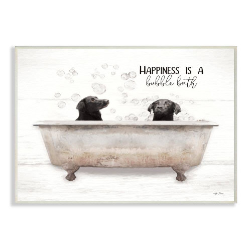 Labs In Bubble Bath Wall Plaque