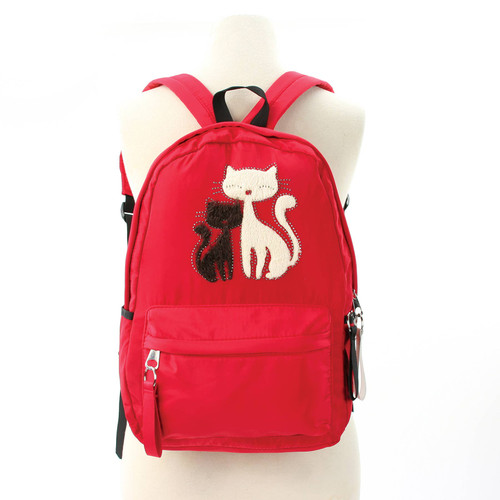 Furry Cats Backpack, Red