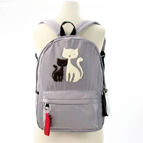 Furry Cats Backpack, Gray