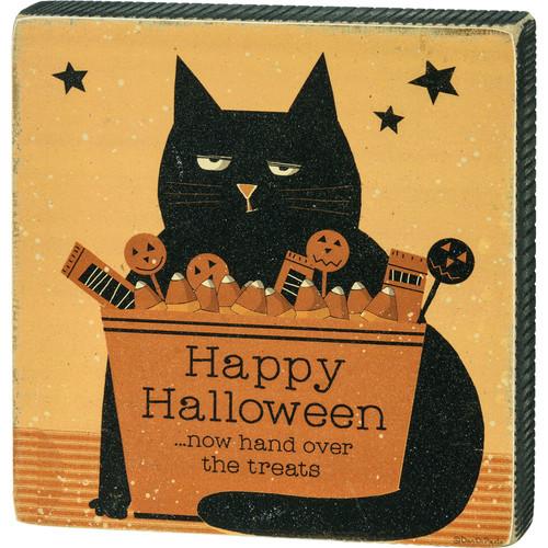 Happy Halloween - Cat Block Sign