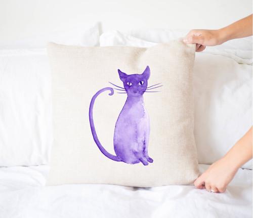 Purple Cat Halloween Throw Pillow